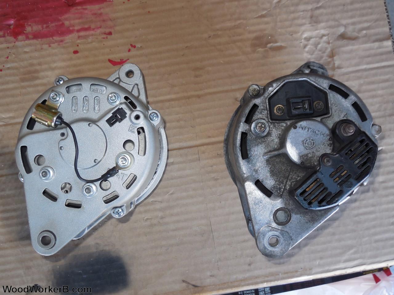 13av60kg011 240z alternator upgrade detail showing diode attachment  into wiring on alternator replacement, alternator generator,