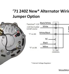 alternator with internal voltage regulator this approach uses a jumper in place of the mechanical 240z  [ 1048 x 786 Pixel ]