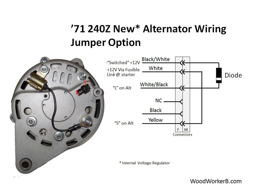 medium resolution of alternator with internal voltage regulator this approach uses a jumper in place of the mechanical 240z