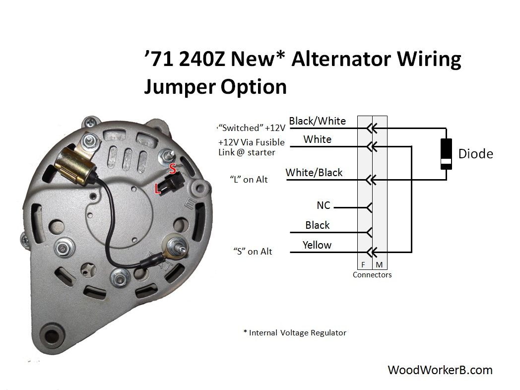 hight resolution of alternator with internal voltage regulator this approach uses a jumper in place of the mechanical 240z