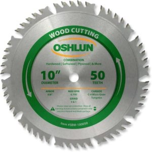 Oshlun SBW-100050 10-Inch 50 Tooth 4 and 1 Combination Saw Blade