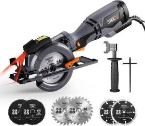 "TACKLIFE Circular Saw with Metal Handle, 6 Blades(4-3/4"" & 4-1/2"")"