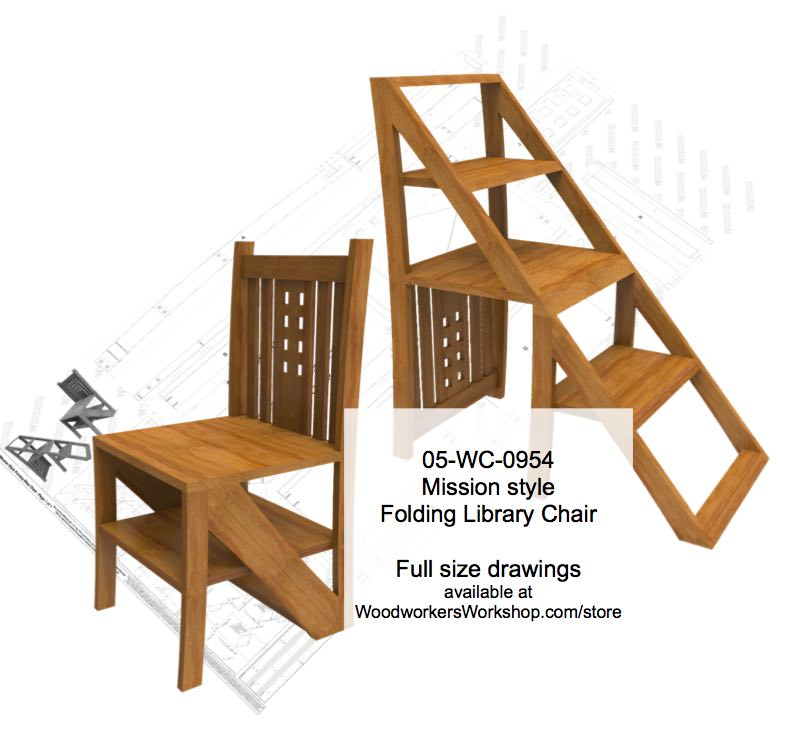 library chair ladder shower chairs lowes mission style folding step woodworking plan woodworkersworkshop