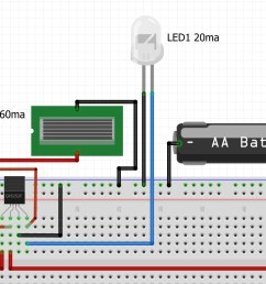 a breadboard view of a garden solar led light circuit [ 1216 x 737 Pixel ]
