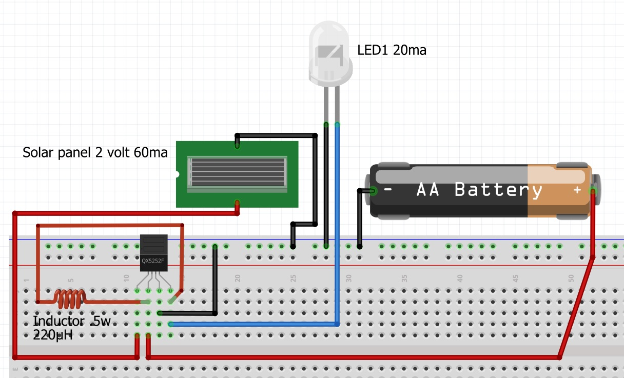 hight resolution of a breadboard view of a garden solar led light circuit