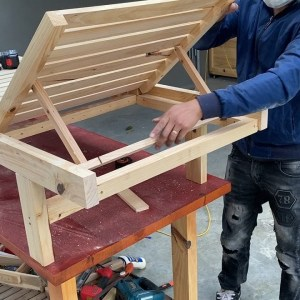 Smart woodworking project idea // Build An Adjustable Smart Wooden Bed On The Beach, Sun Lounger