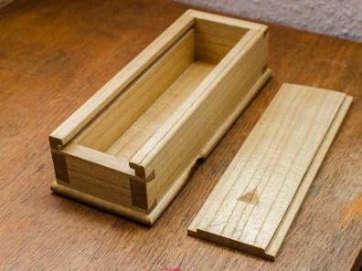 Sliding lid dovetail box from light paulownia wood, shellac and wax finish