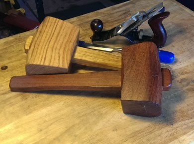 Two mallets, one in oak and the other in Arizona mesquite.