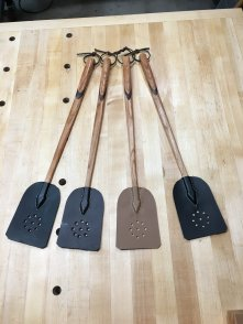 These fly swats are ready to be transferred to the gift wrap room upstairs. I hope the recipients enjoy using them as much as I have enjoyed making them. It was a a wonderful skill building project for me. I used hand planes, chisels, spoke shaves and scrapers. Additionally, I got to learn how to stitch leather. Very fun and valuable project for me.
