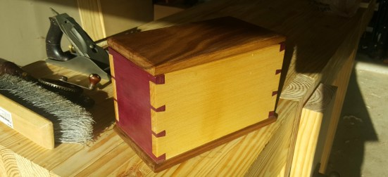 Purpleheart, Maple, and Walnut Dovetail Box