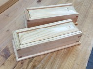 Second and third dovetail boxes. Shellac and wax finish.