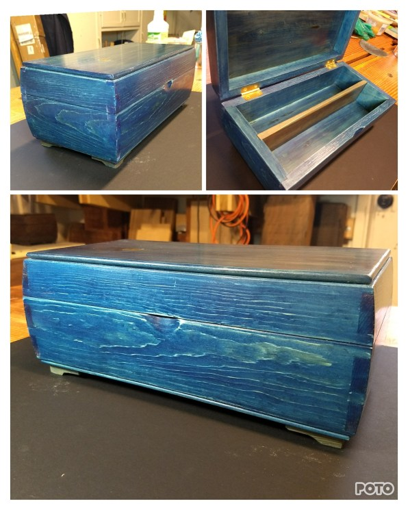 This box is white pine I dyed Indigo blue. It's always fun to try out new finishes.