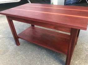 Table made from reclaimed Jarrah as a Xmas gift for my 16yr old. Keeps his rat cage on it now! Contrasting strips of Jarrah in tabletop were needed to give the required width. Finished in 5 coats of wax.