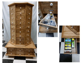 Cabinet, constructed of white ash, consisting of 72 triangular drawers in the rotating section and 12 rectangular drawers in the lower stationary section.