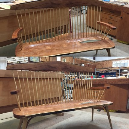Modeled on a Moser Eastward bench using mesquite slabs and ash spindles and legs.