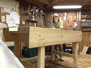 "Workbench built under the instruction of Paul's original ""garden"" workbench videos. Yellow pine construction."