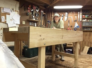"Workbench built under the instruction of Paul's original ""garden"" workbench videos. Yellow pine construction."