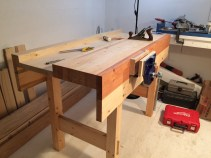 Just finished the workbench based on Paul's design! 5 feet long by 27 inches wide by 38 inches tall, made from western spruce with Veritas quick-release vise with plywood liner.