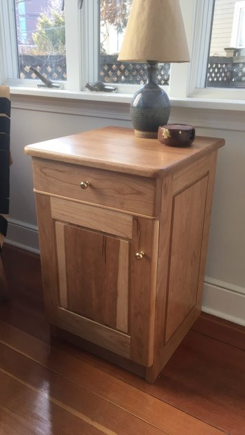 In cherry and white oak for the drawer
