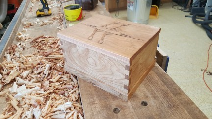 Cherry box with relief carving and cedar lined