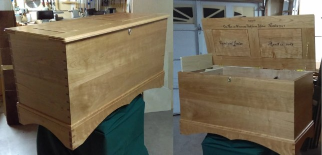 Hope chest for my new daughter-in-law. Cherry carcass, poplar till, bottom lined with aromatic cedar. There is a Swiss music box that plays when the till lid is opened. I didn't have the skills to make this for my daughter years ago when she got married. THANK YOU PAUL, for enabling me to create this special gift for my son's wedding, although I did cheat at the end and use a power router for the lid molding.