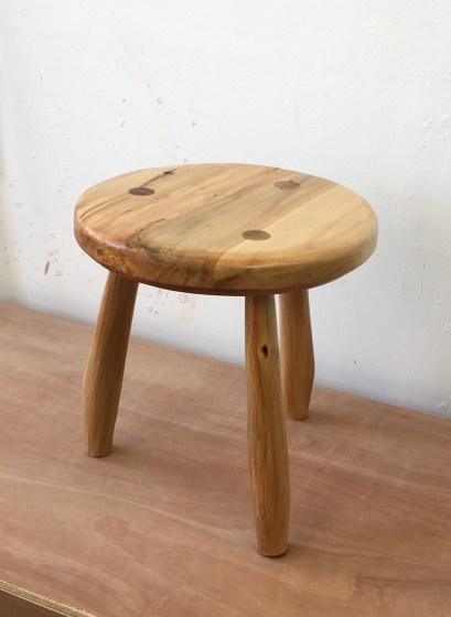 Milking Stool. Lime, shellacked. Started as logs from a garden, so it felt hard won. Great way to get to know the spokeshave. I also enjoyed using the drawknife for shaping the legs