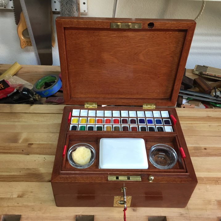 Reproduction of a watercolor artist box from the 1800s. Made this for my daughter for Christmas.