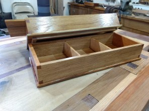 Stacked Dovetail Boxes for storing 1/4 sandpaper sheets. Cherry & Oak wood. Top and bottoms are reclaimed Oak barn siding, even has a couple nail holes. Partitions made to hold sandpaper when I cut a full sheet into 4 equal pieces.