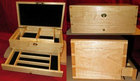 adaptation of keepsake box design; hard maple; shellac and wax