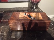 Walnut box with wood duck marquetry
