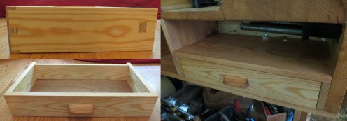 Workbench drawer -- Pine with Danish Oil. Drawer pull shaped from a cherry offcut. First-ever drawer, thanks to multiple screenings of Paul's drawer-making videos.