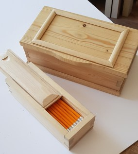 Two styles of box made in pine