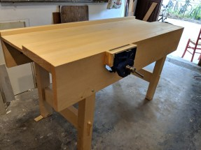 "My first woodworking project had to be Paul's workbench. Built from spruce, hand tools only, and a 9"" Record vise."