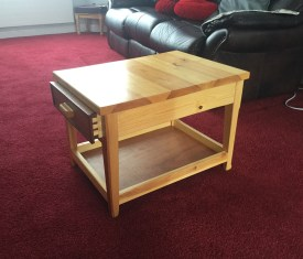 Made from pine with Sapele draw front. Finished with three coats of Ronsil mat varnish.