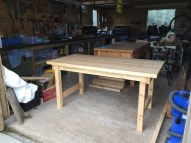 Swedish redwood planed from rough sawn boards. Mortice and tenon with pegs aprons to legs