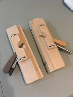 (In maple) Left and right poor man's rebate planes with depth stop. Thanks for the great videos!