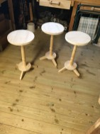 A trio of tables. Made with hand tools posts were finished on the lathe. Customer to finish treating.