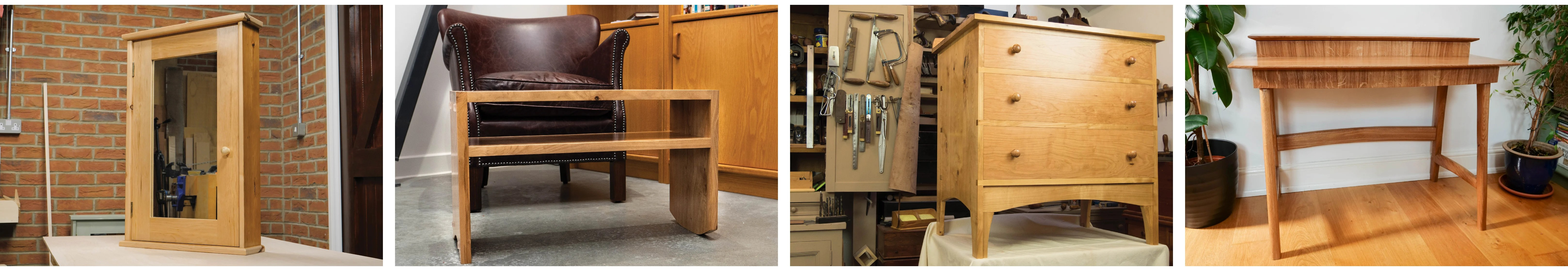 Four of Paul's Projects: The Bathroom Cabinet, Sofa Server, Chest of Drawers and Laptop Desk