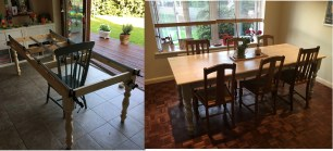 Solid Pine construction, painted apron and legs, with a whitewash top then clear coat varnish.