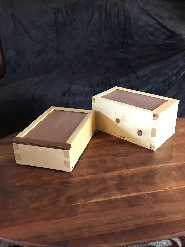 Pine tool storage box for my Record 044 and one for my Stanley 289, one oil finish and one Shellac finish