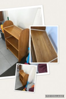 This is a shaker inspired book case/ thing to put stuff on. Made from white oak with poplar accents, 4 coats of shellac and a coat of pale furniture wax. The oak changed quite a bit during the build and will definitely do a prototype next time round. First time using oak in a larger scale project and it was bloody hard.!