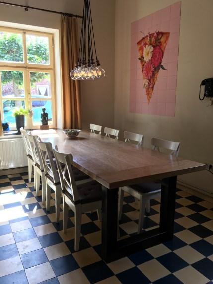 Oak kitchen table (with iron U-shaped trestles)