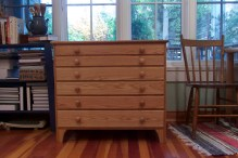 Built of red oak with western big leaf maple secondary wood. Sized to take full sheets of watercolour paper.