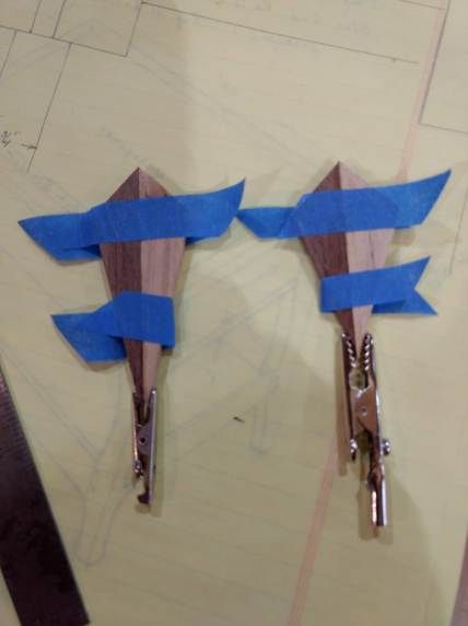 Used Alligator clamps for clamping the tips of the star. Worked great. Won't slide off