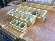 Dovetail screw caddies made from pine treated with shellac