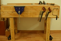 Recycled wood (oak for top and legs, pine for other parts)