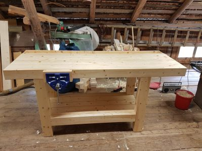 My new Workbench made from spruce wood.