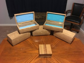 5 boxes made with Cherry for granddaughters Xmas present. Opted not to put the divider in and lined top / bottom with their favorite colors in felt