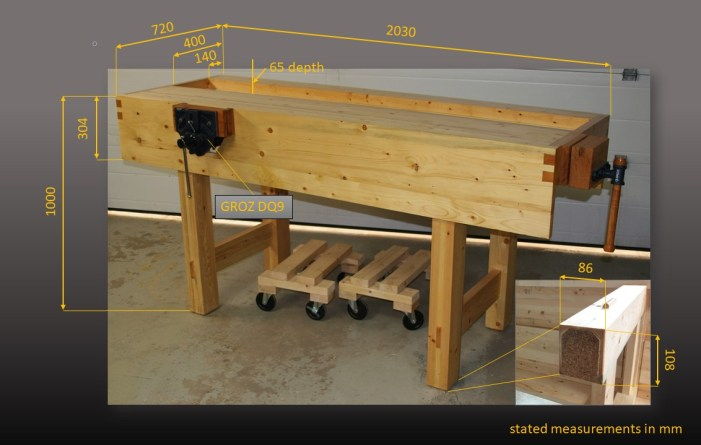 """Thank you, Paul Sellers, for all your instructions and guidance. Your: """"You can do it."""" was helping me lot. My bench was made as a hybrid design of your garden and indoor project including a few ideas along the way. The bench is made out of standard construction SPF, 2 by 4's (top) and 2(1) by 6's (laminated legs). Aprons, legs and top are glue together permanently using PL400 instead of wood glue to allow for a bit more flexibility. After assembly, the workbench felt somewhat odd standing on my concrete floor, so I glued disks of cork onto the legs which gives the bench a """"softer"""" feel. Bench is finish with Tung Oil and 3 coats of varnish. For the front vise, I recycled my oak kitchen cutting board, which interestingly revealed after plaining a very smooth texture likely from being """"soaked"""" for many years with fat and oils. For the end vice I laminated 1-inch red oak. Thank you, Paul, for sharing so many great lessons and plans! Tim Reuter, Canada"""