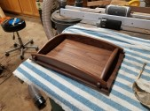 Desktop Letter size paper tray. Made from Walnut. Main body is one solid piece. Finished with a Danish oil. Paul Sellers video project.